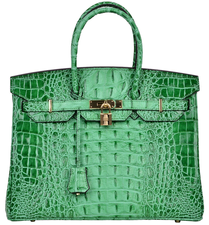 Cherish Kiss Women's Luxury Embossed Crocodile Leather Tote Office Padlock Handbags (35CM, Green)