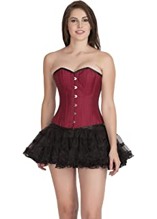 bda127e5ab CorsetsNmore Red Cotton Lining Black Piping Gothic Burlesque Overbust Tutu  Skirt Corset Dress
