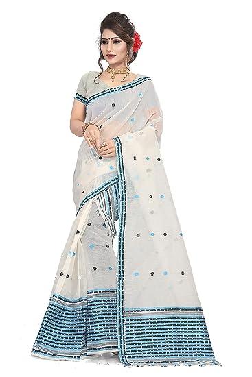 c7c0f88f582e7 S Kiran s Women s Assamese Art Nuni Design Mekhela Chador Saree with Blouse  Piece (Firozi Black Cream)  Amazon.in  Clothing   Accessories