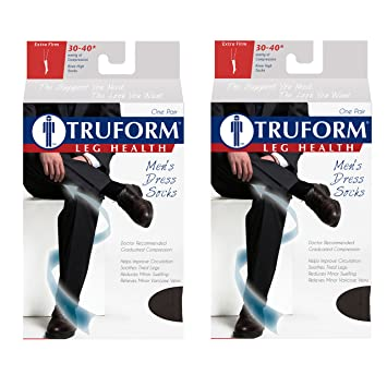 Truform Compression 30-40 Mmhg Knee High Dress Style Socks Navy, Small, 2