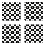 Ambesonne Checkers Game Coaster Set of
