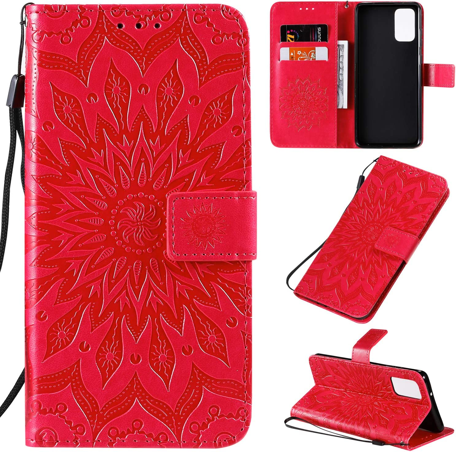 Compatible with Samsung Galaxy S20 red PU Leather Wallet Cover Flip Case for Samsung Galaxy S20