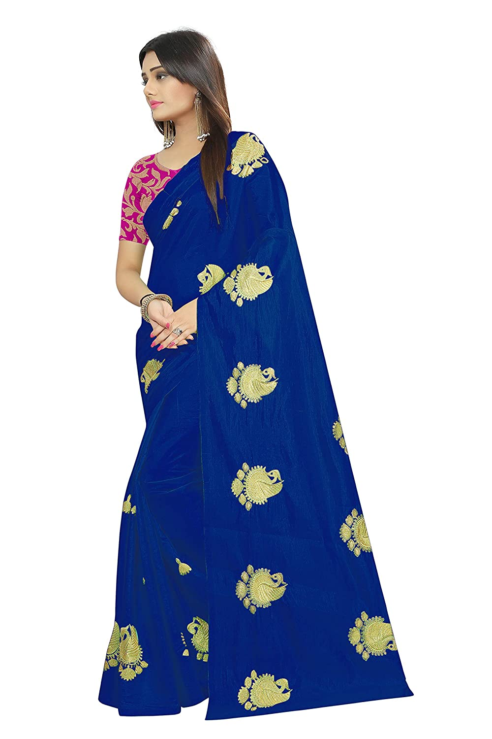 e478ce4271 Shailaja Saree Women's Paper Silk Embroidery Work Festival wear Saree With  Brocket Blouse Piece (Blue): Amazon.in: Clothing & Accessories