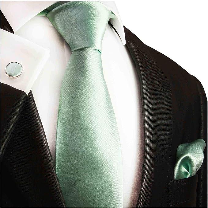 Paul Malone - Corbata de seda y accesorios, color verde menta ...