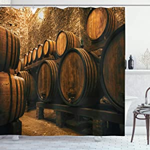 Ambesonne Winery Shower Curtain, Barrels for Storage of Wine Italy Oak Container in Cold Dark Underground Cellar, Cloth Fabric Bathroom Decor Set with Hooks, 70
