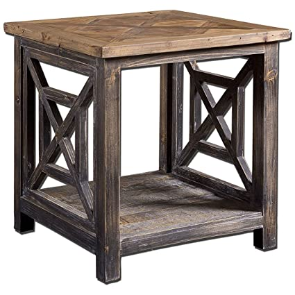 reclaimed wood end table Amazon.com: Uttermost 24263 Spiro Reclaimed Wood End Table  reclaimed wood end table