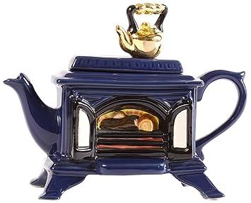 The Teapottery - Tetera de 1 taza (cerámica), diseño de estufa de leña, color azul: Amazon.es: Hogar