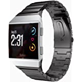 Kartice for Fitbit Ionic Watch Bands Accessories,Fitbit Ionic Stainless Steel Metal Link Wristband Strap with Folding Clasp for Fitbit Ionic (Z-Black)