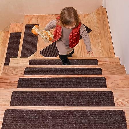 DanceWhale Juego de 15 Alfombrillas para Escaleras (20 x 76 cm), Antideslizantes Autoadhesivo Tapetes de Seguridad para Interiores para Niños, Mayores y Mascotas, Café: Amazon.es: Hogar