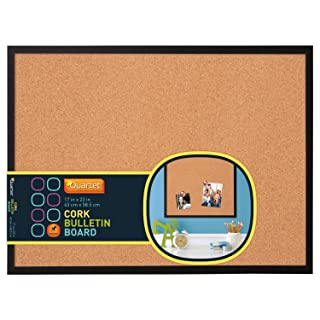 "Quartet 17"" x 23"" Cork Bulletin Board, Wood Frame, Black (85415P)"