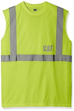 c1c9135cde1135 Amazon.com  Big and Tall Caterpillar Men s Hi-Vis Sleeveless T-Shirt ...
