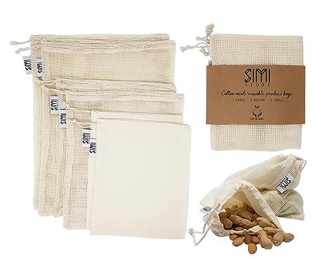 6 bolsas de muselina de malla de algodón orgánico reutilizables