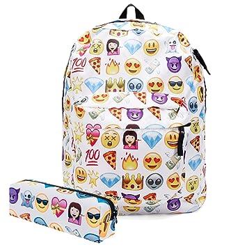 Amazon.com: koojooe lona Bolsas De Emoji la escuela ...