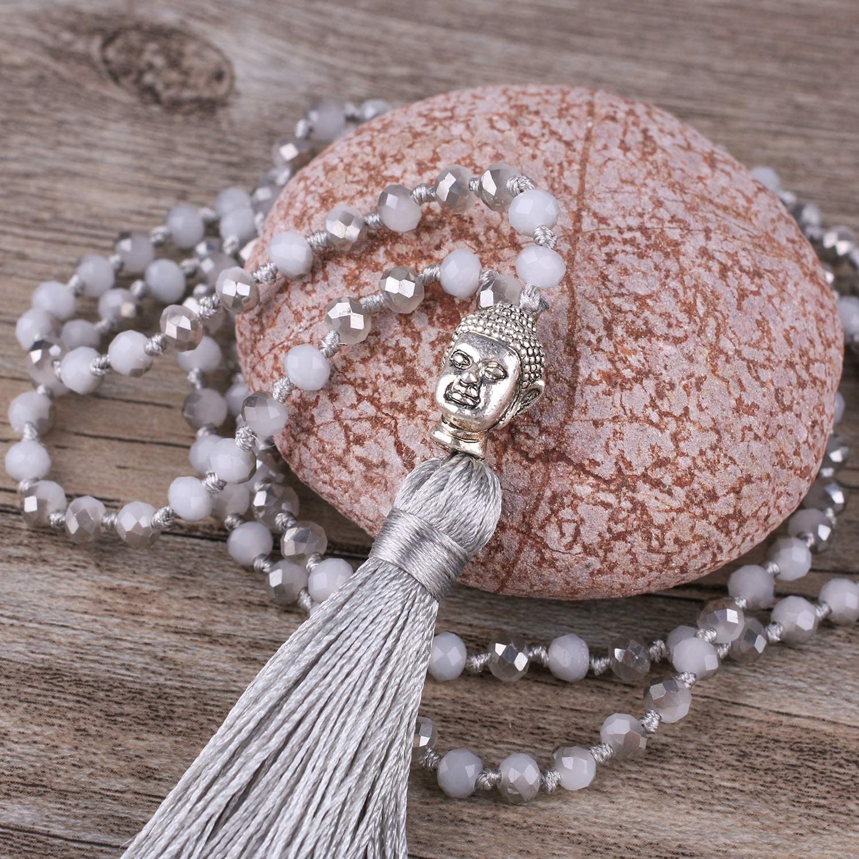 KELITCH Cristallo Naturale Argento Testa di Buddha Perline Nappa Stratificazione Collana Fatti A Mano di Modo Dell'involucro dei Monili di Grigio B