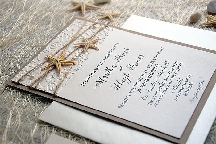 Amazon.com: Unique Beach Wedding Invitation (kraft and ivory ...