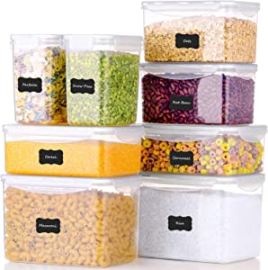 ME.FAN Food Storage Containers [Set of 8] Airtight Storage Keeper with 24 Chalkboard labels Ideal for Cereal, Sugar, Flour, Baking Supplies - Clear Plastic with White Lids