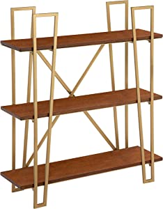 Kate and Laurel Katerina Wood Shelf, 26x30, Walnut Brown and Gold, Mid-Century Modern Wall Decor and Storage