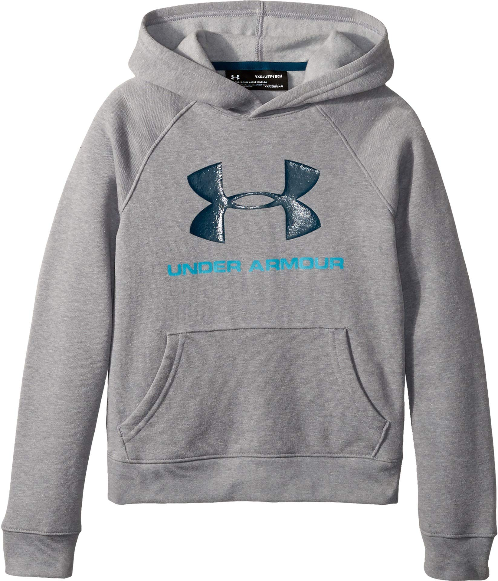 Under Armour Kids Boy's Rival UA Logo Hoodie (Big Kids) Steel Light Heather/Steel Light Heather/Techno Teal Large