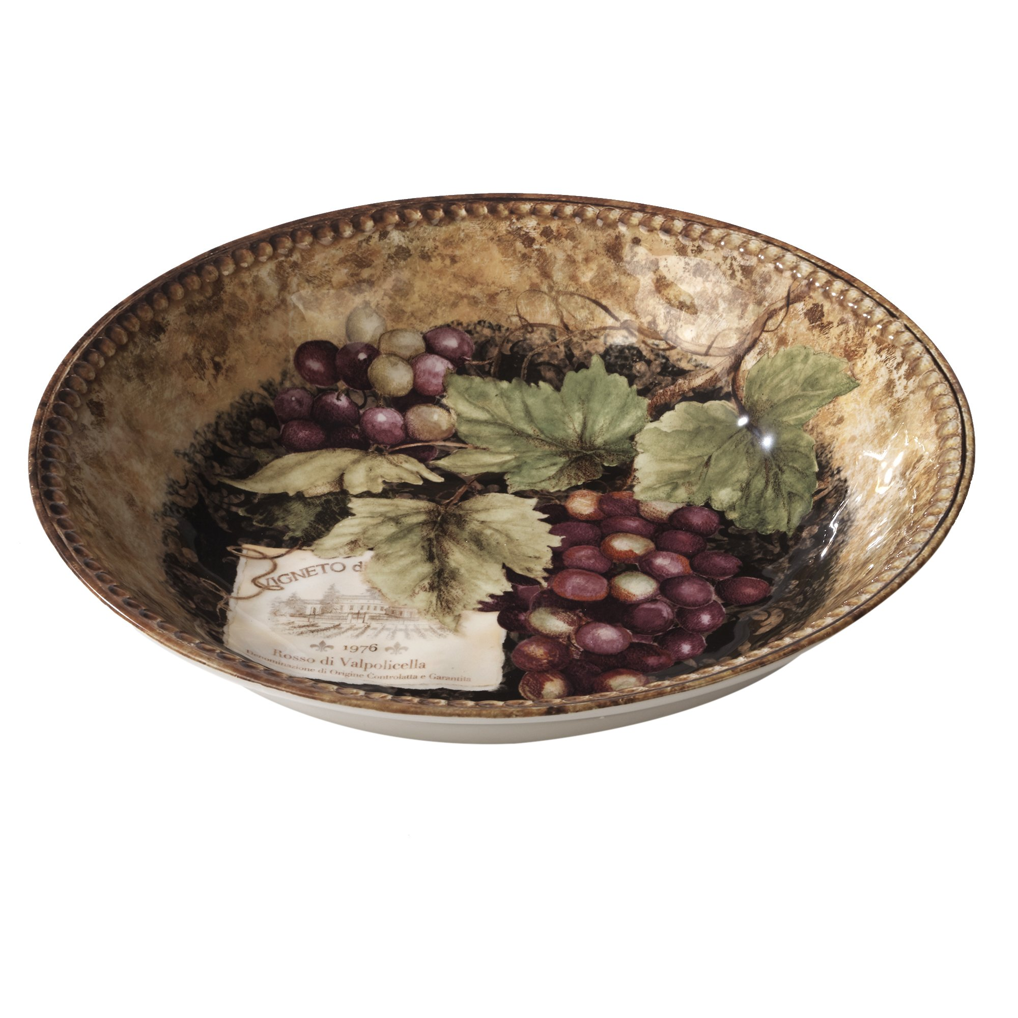 Certified International Gilded Wine Serving/Pasta Bowls, 14'' x 2.75'', Multicolor