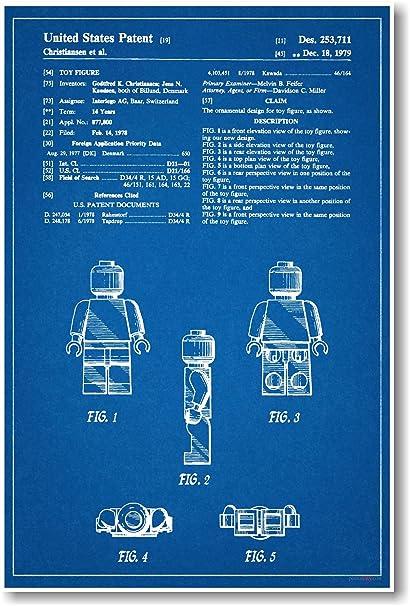 Amazon lego figure patent new famous invention blueprint lego figure patent new famous invention blueprint poster malvernweather Images