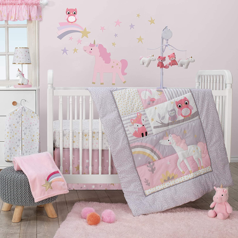 Bedtime Originals Rainbow Unicorn 3-Piece Crib Bedding Set, Purple
