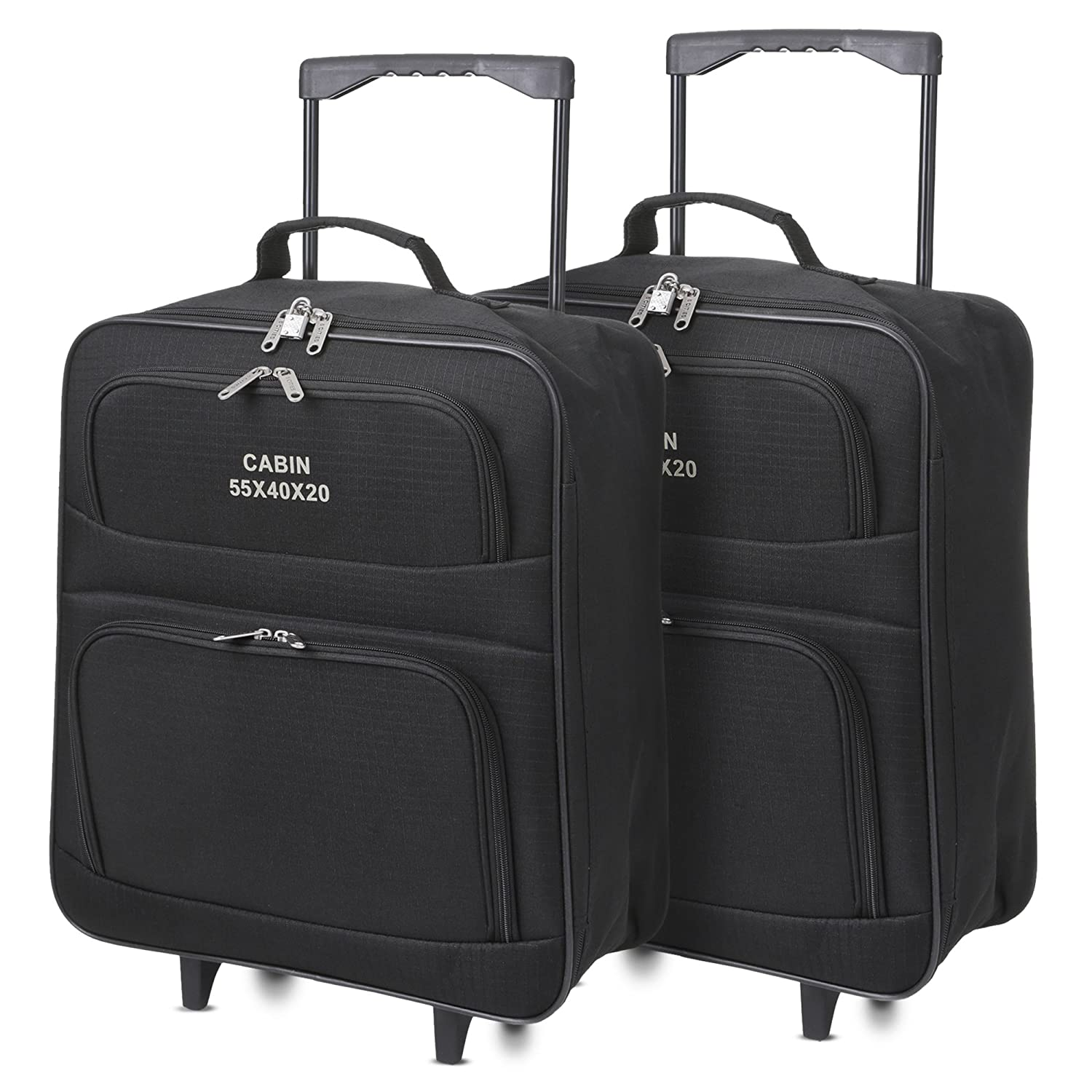 5 Cities 55cm/21 Folding Cabin Hand Luggage Suitcase Bags (2 x Black) FOLDCASE01