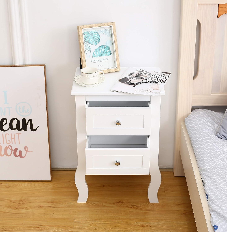 40 x 30 x 58 cm Woodluv colore: bianco Comodino con 2 cassetti