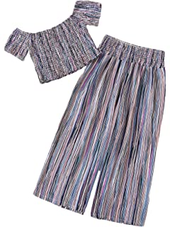 Milumia Women Crop Tops and Wide Leg Palazzo Pants Floral Boho Summer Beach Casual Two Piece