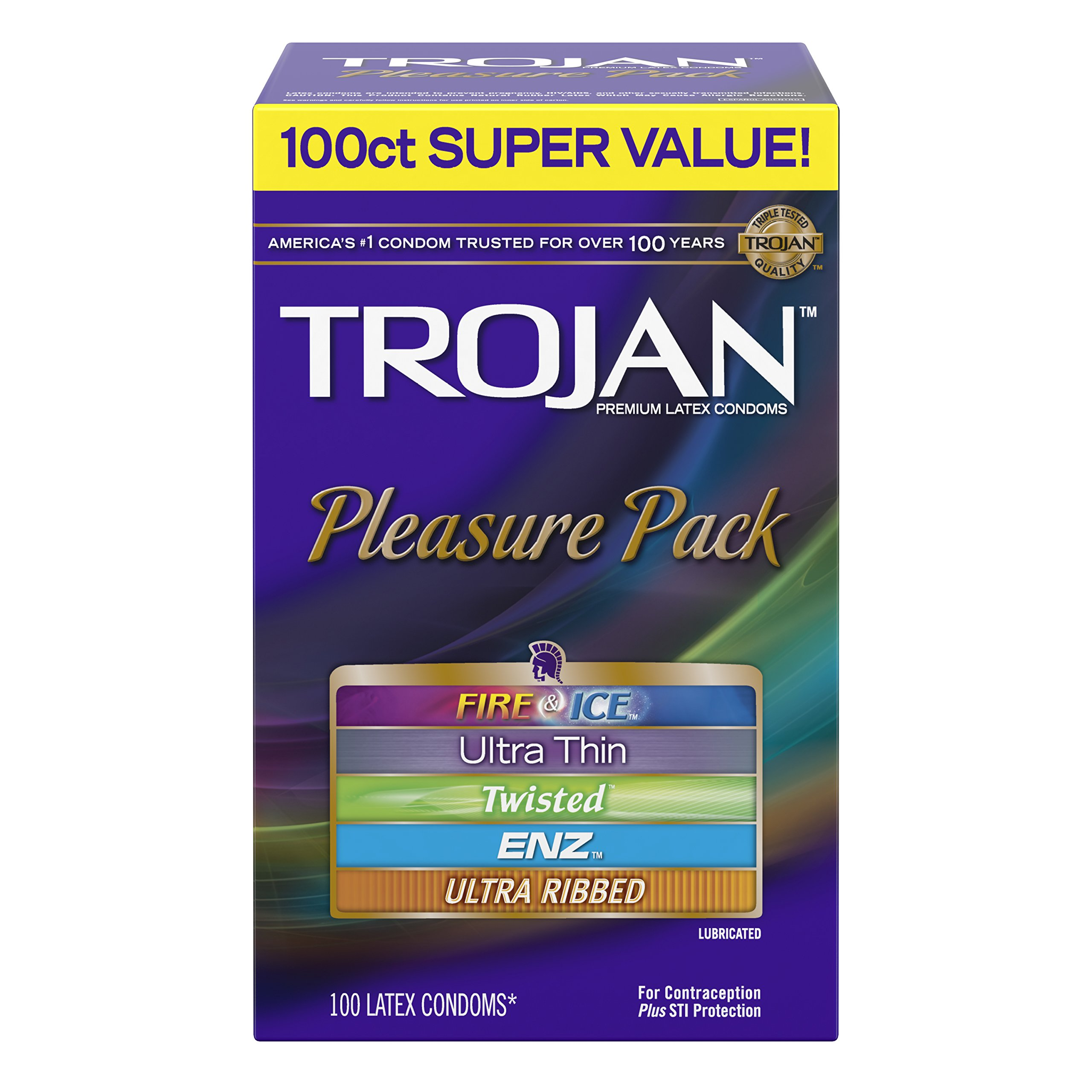 Trojan Super Value Pleasure Pack Lubricated Condoms, 100 Count