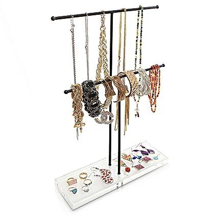 Metal joyas pulsera y collar Rack de almacenamiento organizador/expositor/ bandejas de mueble para