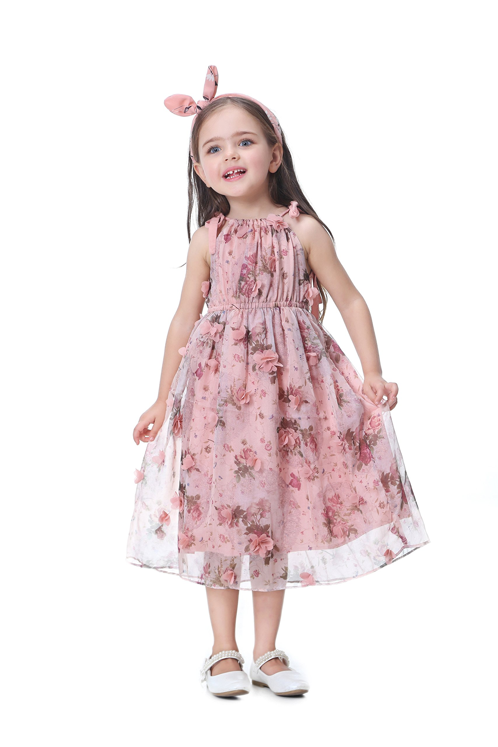 Flofallzique Flower Girls Dress Baby Girls Dress Floral Birthday Dress for for 1-6 Years Old(4, Light Pink)
