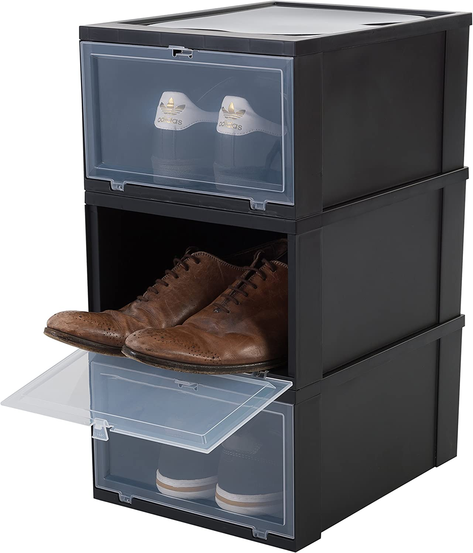Iris Ohyama EUDF-M Lote de 3 Cajas de Almacenamiento para los Zapatos, Negra, Medio
