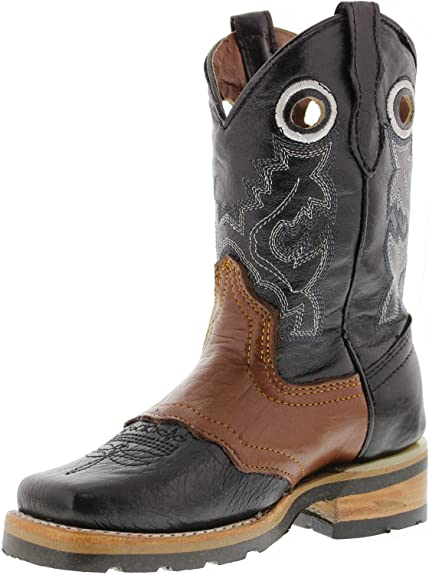 Bsc1807 Old West Boys Swirl Western Cowboy Boot Square Toe