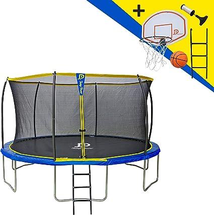 JUMP POWER - Cama elástica con Escalera y Canasta de Baloncesto ...