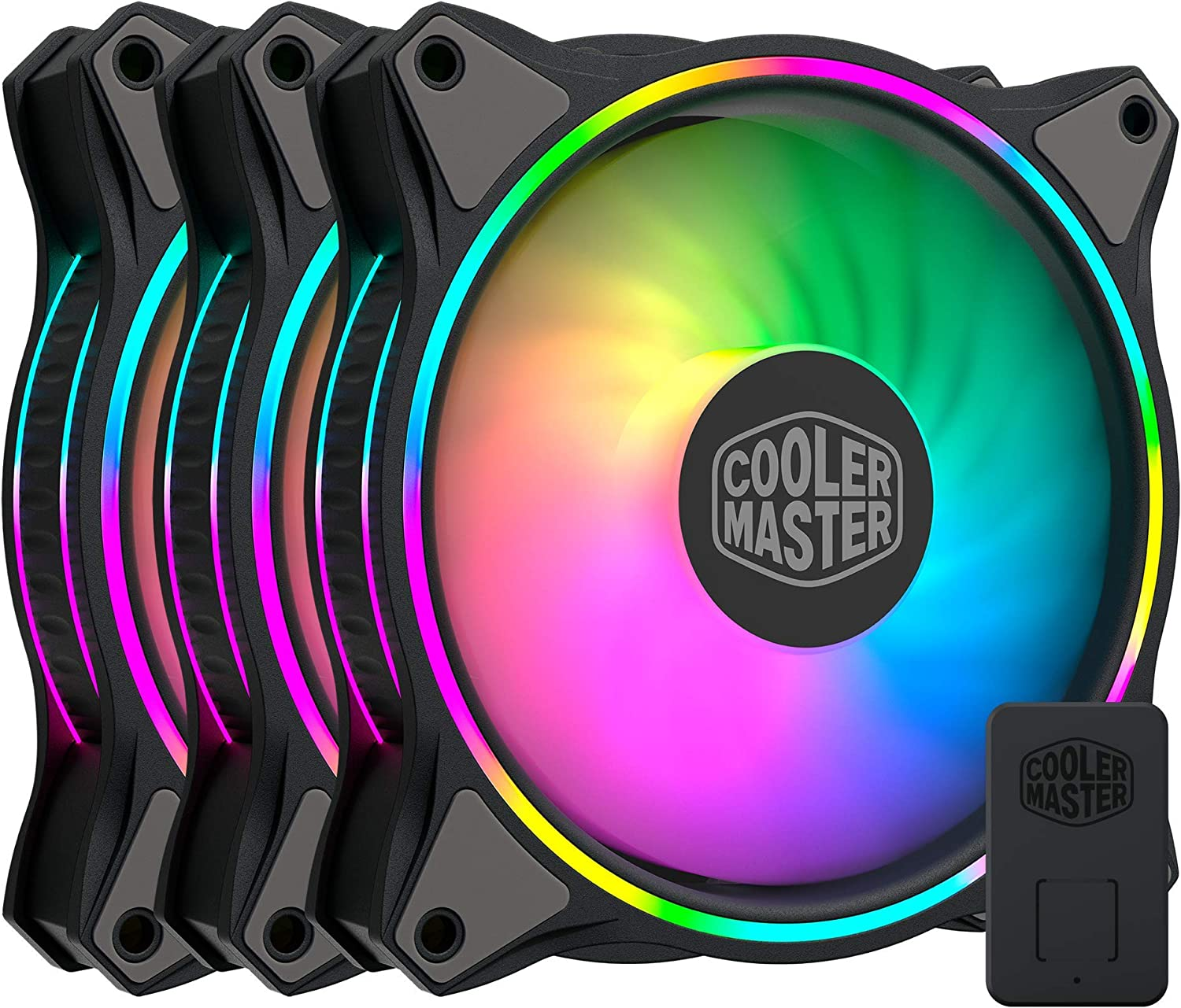 Cooler Master MasterFan MF120 Halo DuoRing Addressable RGB Lighting 120mm 3 Pack with IndependentlyControlled LEDs Absorbing Rubber Pads PWM Static Pr at Kapruka Online for specialGifts