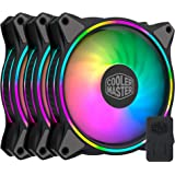 Cooler Master Master Fan MF120 Halo Duo-Ring Addressable RGB Lighting 120mm 3 Pack with Independently-Controlled LEDS…
