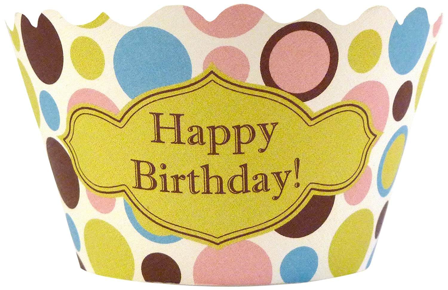 Bella Couture Happy Birthday Polkadot Cupcake Wrappers