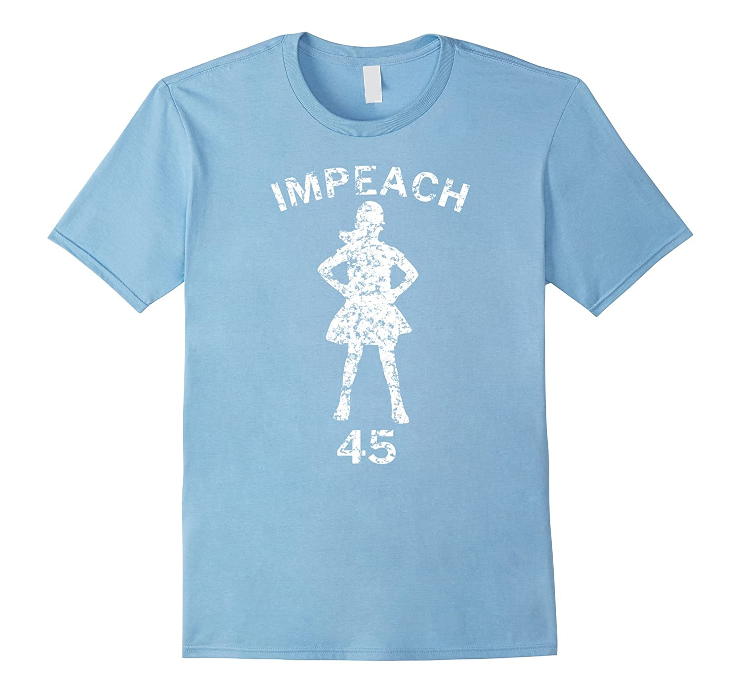 Fearless Girl Impeach 45 Faded Grunge Distressed T-Shirt