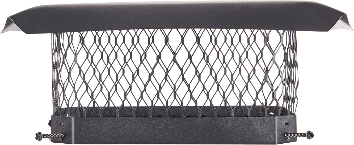 """HY-C SC913 Shelter Bolt On Single Flue Chimney Cover, Mesh Size 3/4"""", Fits Outside Existing Clay Flue Tile Dimensions 9""""x 13"""", Black Galvanized Steel"""