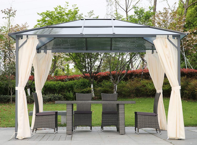 Angel Living 3 * 3.6m Gazebo de Aluminio y Acero, Cenador con Techo de Panel de PC para Resistente al Agua y UV, Pabellón con 4 Lados Laterales: Amazon.es: Jardín