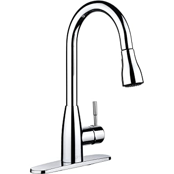 PH7 Single Handle Pull Down Sprayer Kitchen Sink Faucet Faucet Chrome Kitchen  Faucets With Deck Plate