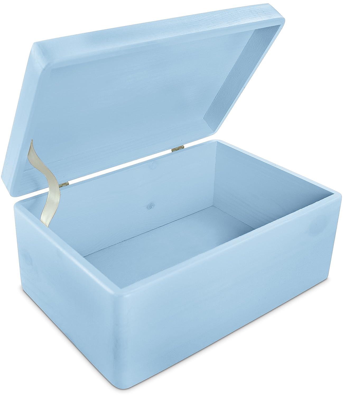 Grinscard Caja de Regalo de Madera para bebé para Bebés - Pino Azul Pintado - Aproximadamente 30 x 20 x 14 cm