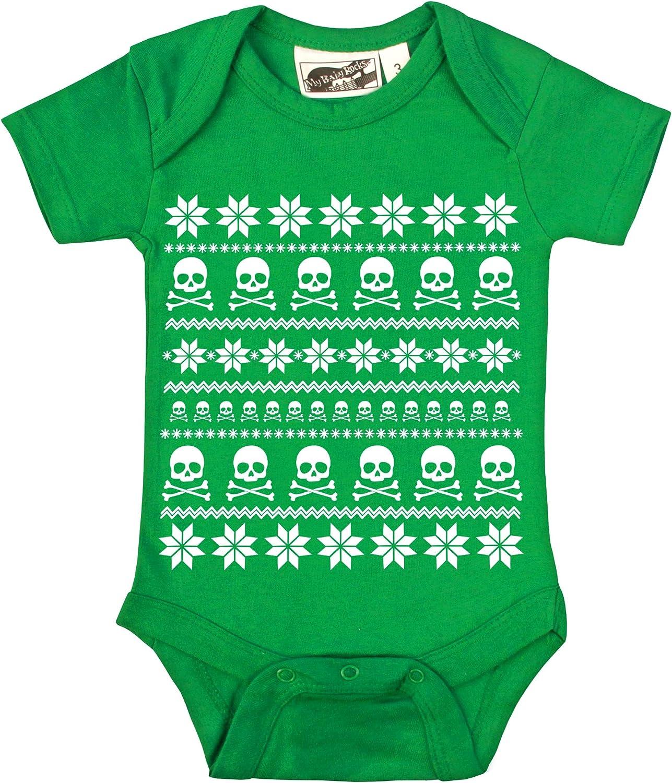 My Baby Rocks Fair Isle Skull Ugly Sweater Kelly Green /& White One Piece