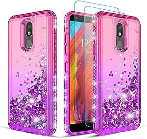 Wallme compatible with LG Escape Plus Case,LG Aristo 4 + Plus/Tribute Royal/Journey LTE/Neon Plus Phone Case w/Screen Protector[2 Pack]-Pink/Purple