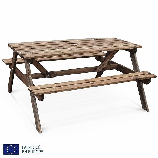 Alice\'s Garden - Table de Pique Nique en Bois 150cm - PADANO - Table de  Jardin rectangulaire avec bancs en pin FSC, fabriquée en Europe
