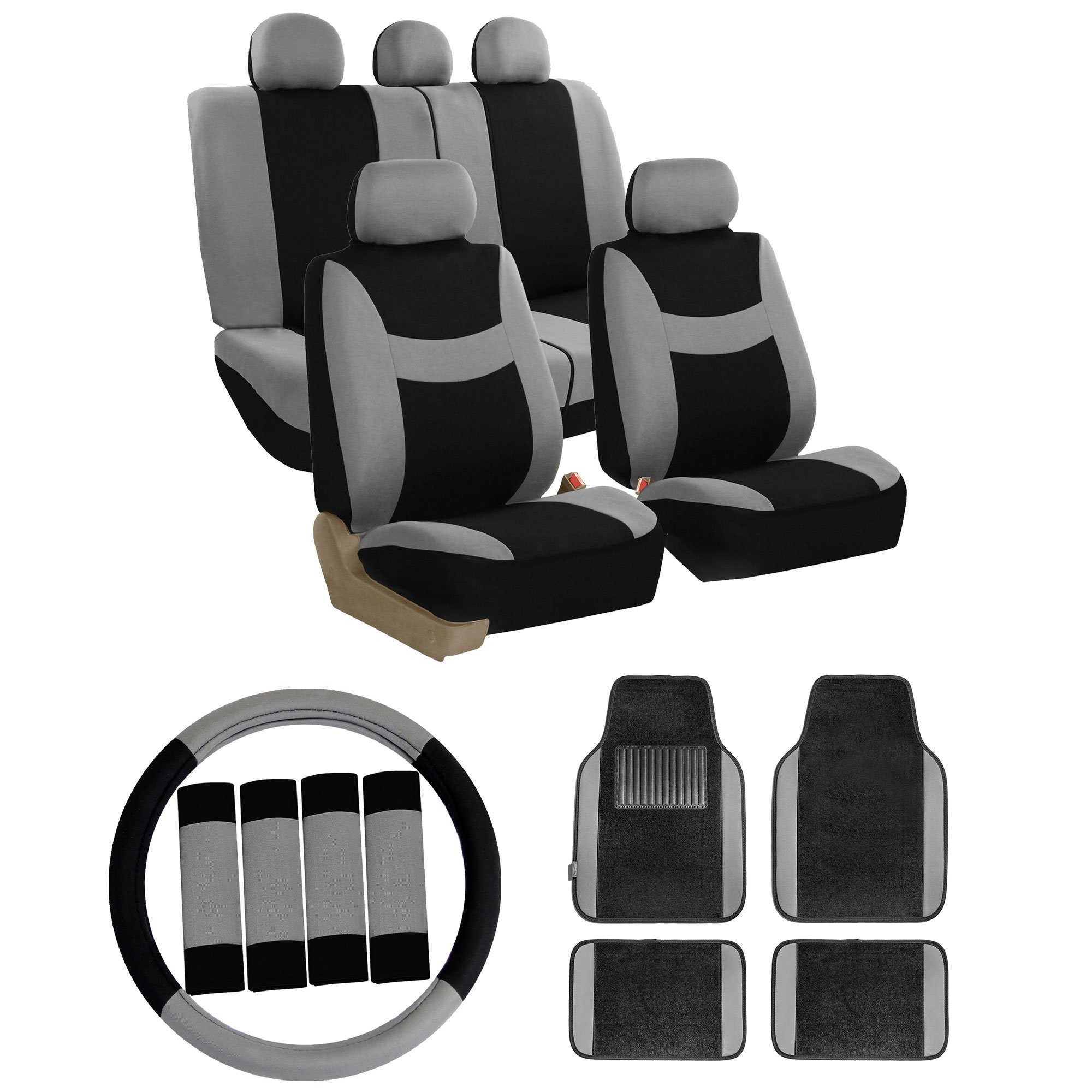 FH GROUP FH-FB030115 Light & Breezy Cloth Seat Covers (Airbag & Split) W.FH2033 + F14407 Carpet Floor Mats Gray / Black- Fit Most Car, Truck, Suv, or Van