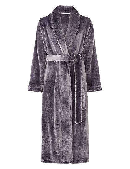 94025eb1fb Slenderella Ladies Super Soft Thick Fleece Dressing Gown Luxury Shawl  Collar Bath Robe XL (Grey)  Amazon.co.uk  Clothing