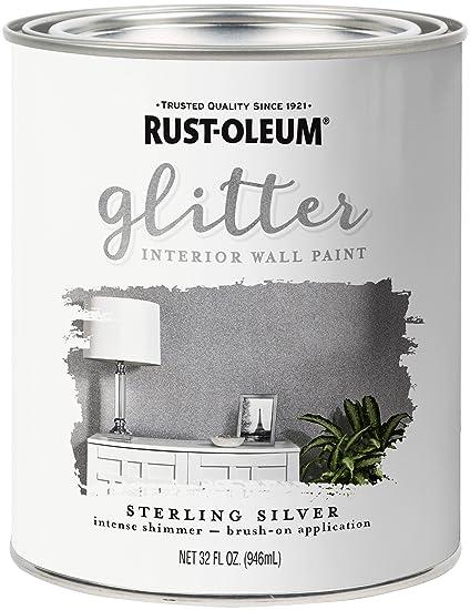 Rust Oleum 323858 Glitter Interior Wall Paint Quart Sterling Silver