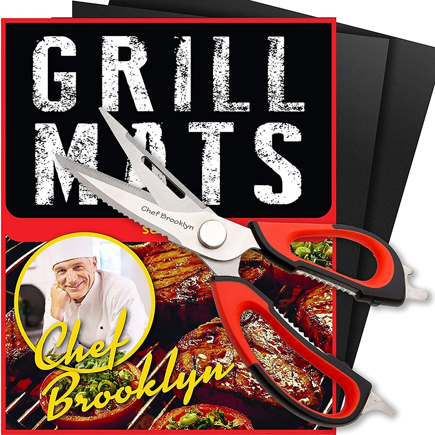 Chef Brooklyn BBQ Grill Mats with Bonus Kitchen Scissors- Heavy Duty Multi-Functional Scissors Sharp Perfect for Chicken, Poultry, Fish, Meat, Herbs and Outdoors for the BBQ\'S Camping or on the Boat