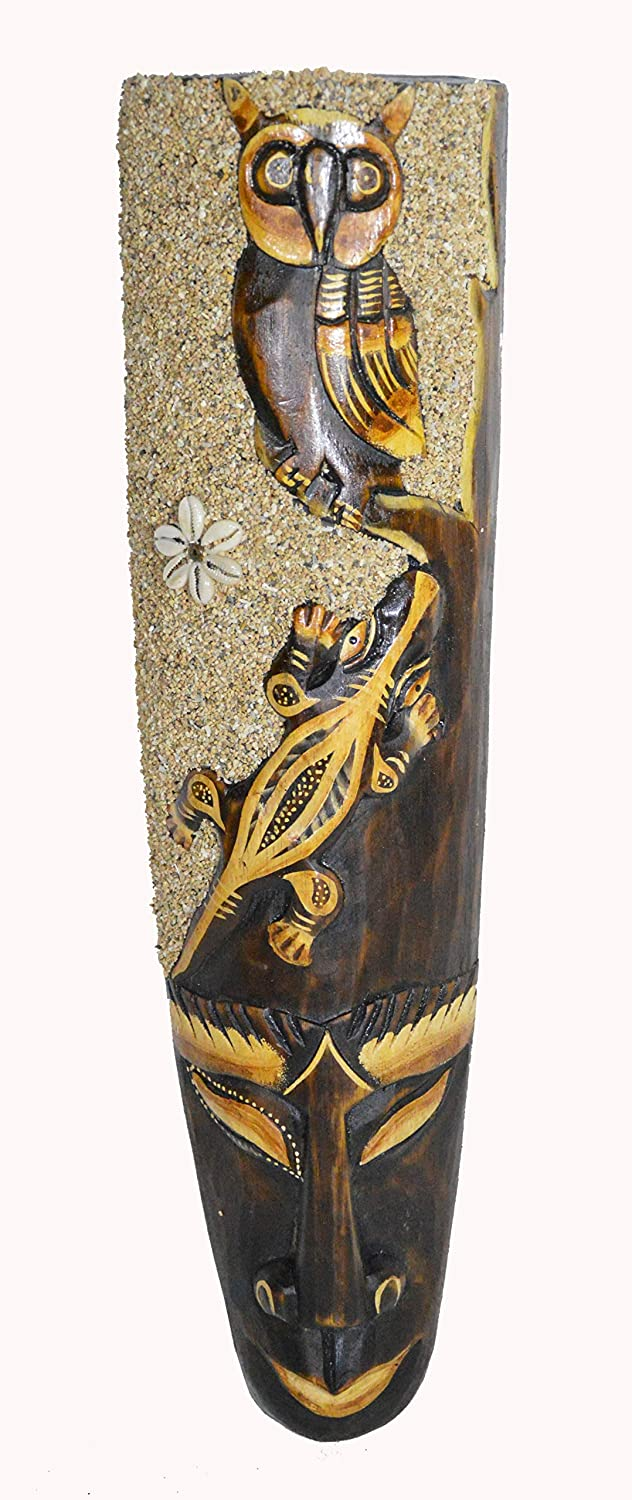 African Forest OWL WITH GECKO Beach SAND Detail Mask Large Jungle Forest Art 20